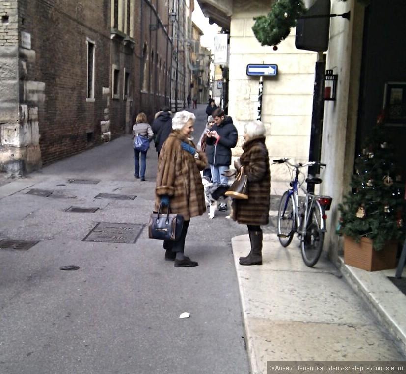 Добродушные итальянские пенсионерки, в норковых шубах при температуре +15 и с брендовыми сумочками.