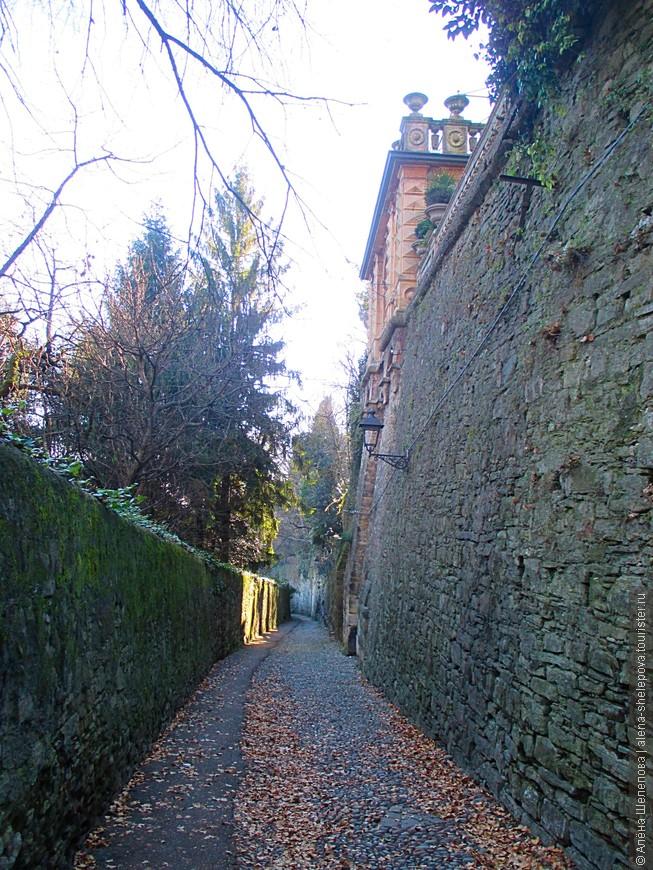 Узкая улочка, ведущая к городу, окружённая замшелой стеной, фонари и опавшие листья под ногами. По- моему, есть что-то таинственное и сказочное в таких местах.