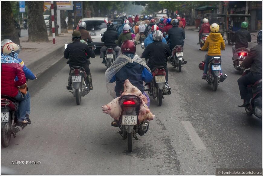 """Этот кадр коллега по сайту назвал """"О трехглавых мотобайках"""". Вьетнамцы, как и другие народы Юго-Восточной Азии, очень любят перевозить на своих транспортных средствах все, что угодно. Шкафы, холодильники и прочее — это классика жанра. Но вот такую картинку я увидел впервые. Мясник везет на рынок свиные головы. Хоть бы прикрыл их как-то. Сплошной треш! Жаль лучше снять не удалось — я ехал сзади в автобусе и снимал через мутное лобовое стекло. Итак,прощай, Ханой.Свидимся ли снова? Дальше нас ждет горная дождливая Сапа и туманная в декабре бухта Халонг."""