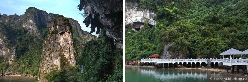 На выходе из пещеры, если глянуть направо, то видишь как-будто кто-то сидит наверху свесив ножки)). Взгляд назад, на ажурный причал и трогаемся дальше.