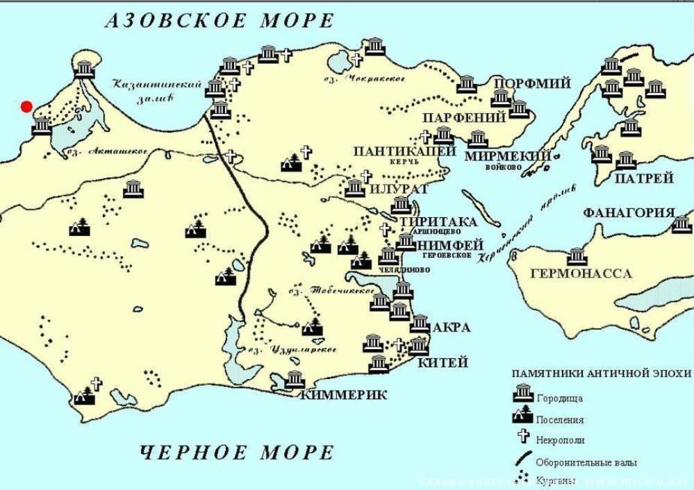 Античная карта Крыма и Тамани