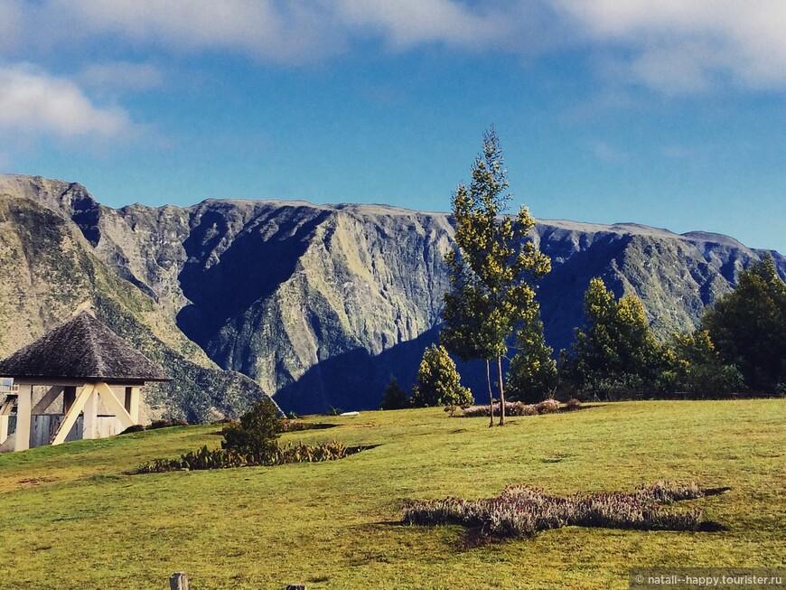 Вулканическое плато Плен де Кафр, между полянкой и горами - ущелье Гранд Басса
