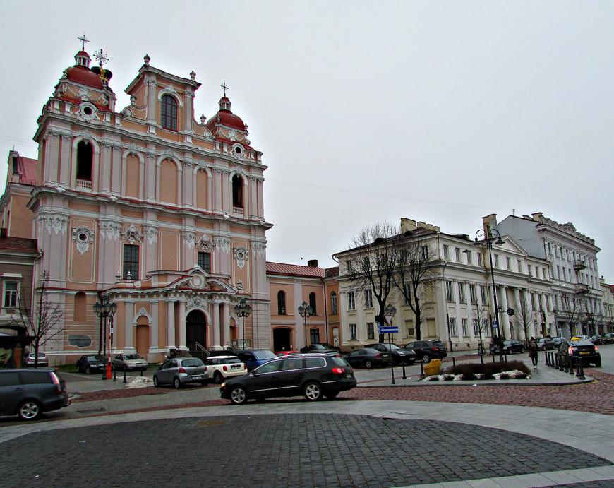 Костел св. Казимира и дворец Абрамовичей (ныне Вильнюсская консерватория).