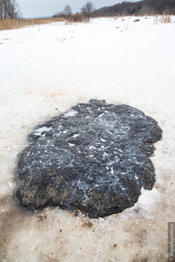 От Дома Берендея мы проехали к культовому месту города - Синему камню на Плещеевом озере. Говорят, что в настоящее время камень постепенно уходит в землю, и действительно, на предыдущих фотографиях камня он, вроде бы больше возвышается над землёй, хотя, может быть здесь играет роль лежащий на земле снег. А белое вещество на камне - это молоко, которое жертвуют камню.
