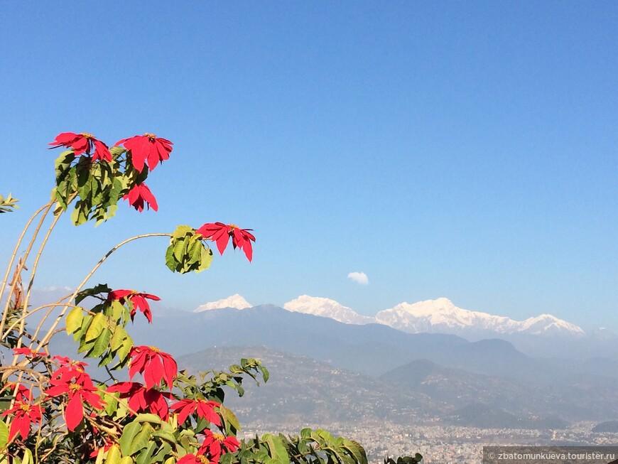 Во время подъема на Ступу мира открывается прекрасный вид на Гималаи и город Покхара