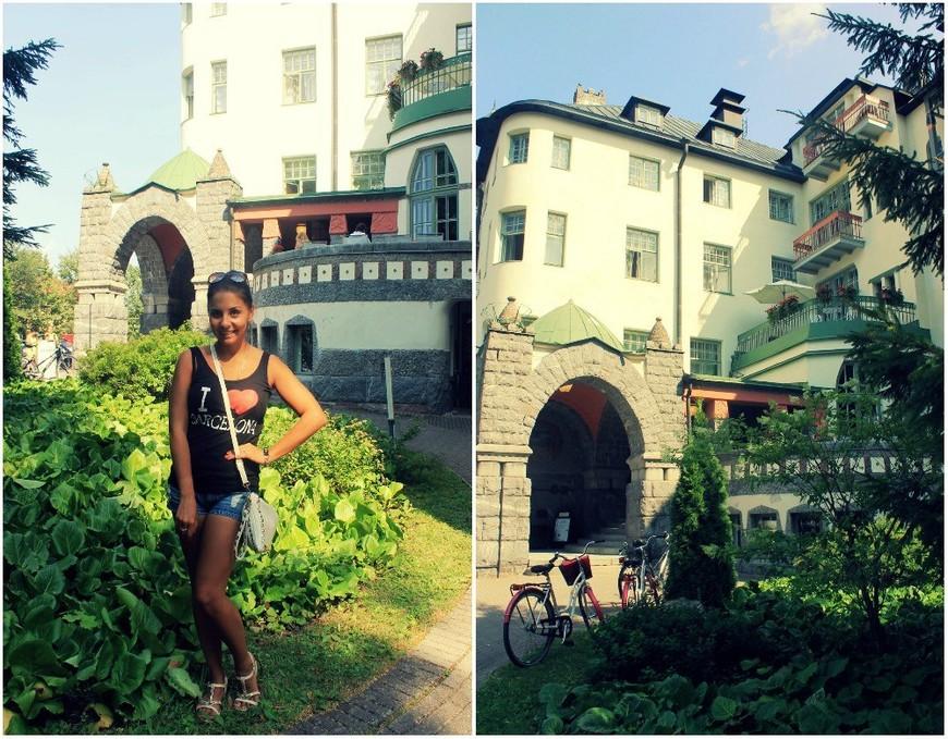 Отель «Валтион-хотелли». Этот отель, считающийся одной из самых красивых и романтичных гостиниц Финляндии, был в 1903 году возведен на берегу каньона архитектором Уско Нюстрёмом. Valtionhotelli. Внешне отель напоминает средневековый замок, и у него даже есть собственный призрак. Это таинственная «дама в сером», которую, как говорят, периодически видят постояльцы.