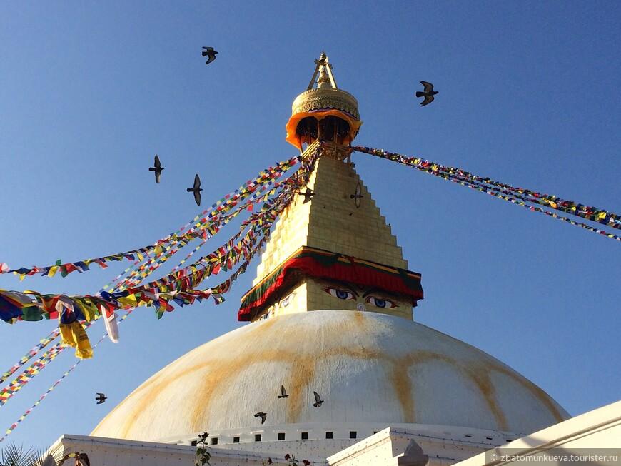 Боднатх - одна из самых больших ступ в мире. Место паломничества тибетских буддистов.