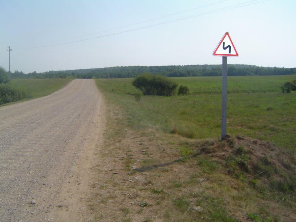 Дорожный знак «Опасные повороты», От Холопенич до Селявы пешком первый раз (2)