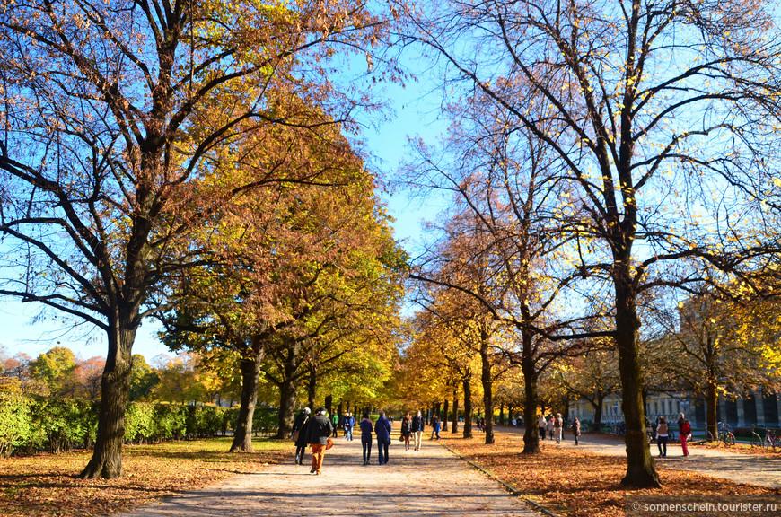 Я же решила прогуляться по Королевскому саду. Одним из лучших парков города считается королевский сад Хофгартен, основанный в начале 17 века. Парк окружен достопримечательностями, с одной стороны — мюнхенская резиденция, с другой — немецкий музей театра, а в центре его располагается Храм Дианы.