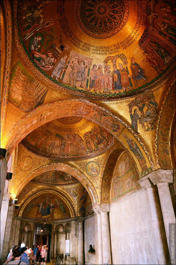 Изумительные золотые мозаики интерьеров Собора Святого Марка.