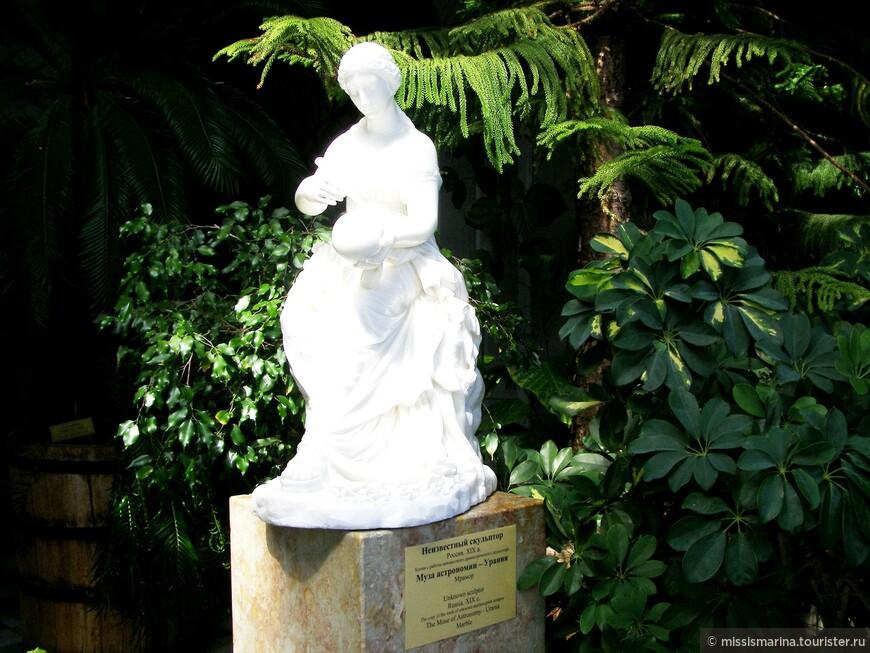 В зимнем  саду  можно  увидеть разнообразие видов тропических растений и изящные статуэтки.