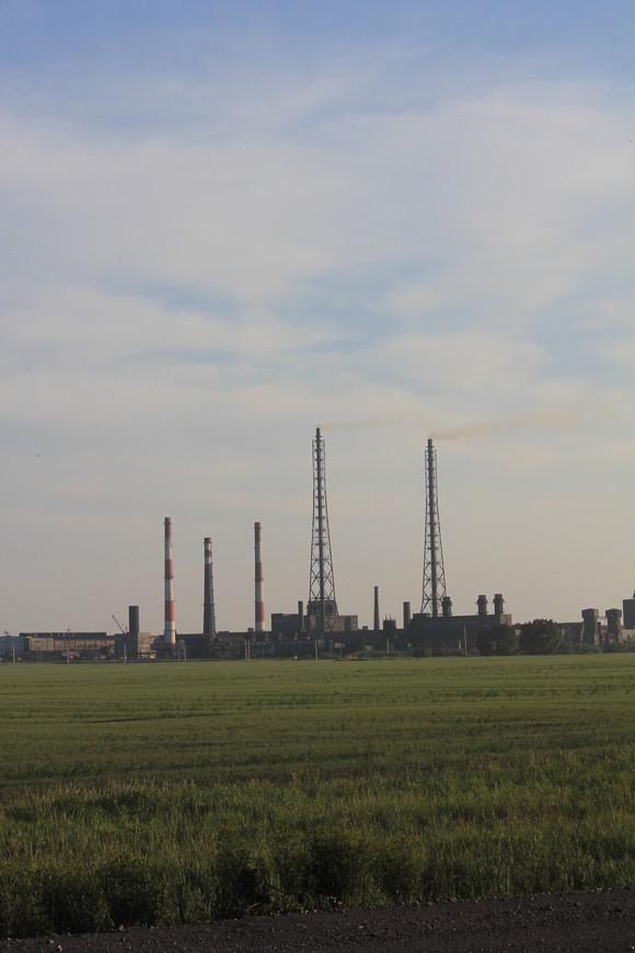 промышленное предприятие , промышленный пейзаж в Новосибирской области.