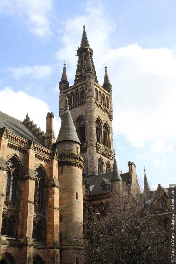 Неоготический дизайн университета Глазго, радующий глаз- работа архитектора Сэра Георга Гильберта Скотта (1866).