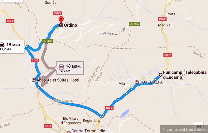 Карта проезда из Энкамп до Ордино