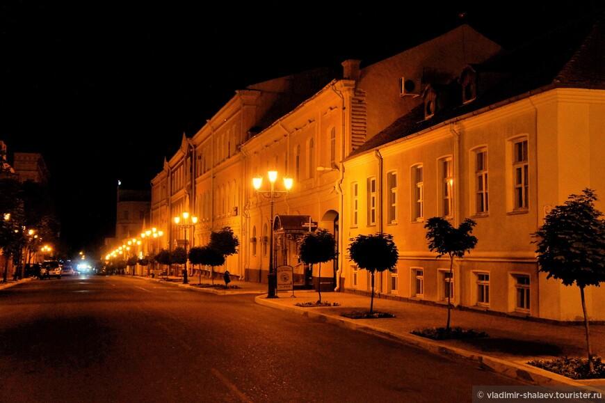 Центральная улица в свете фонарей.
