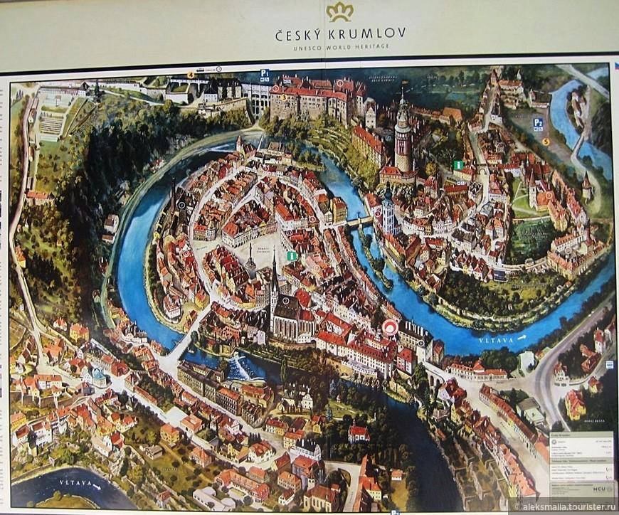 Само территориальное расположение города Чешский Крумлов уникально. Если посмотреть на карту города, то видно, что река в этом месте делает петлю, поэтому исторический центр Крумлова расположен на обоих берегах реки.