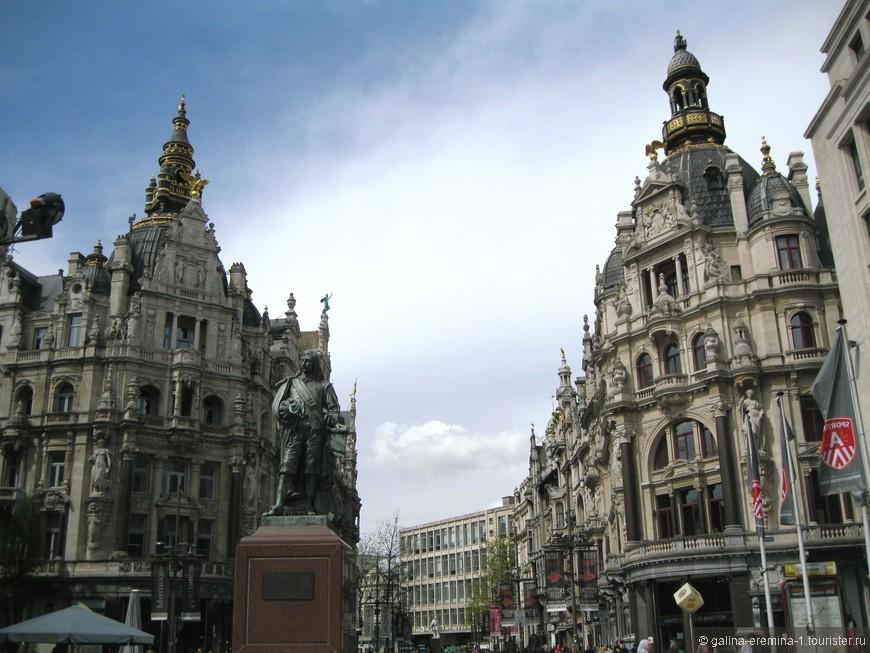 Антверпен, красивая улица на пути к вокзалу