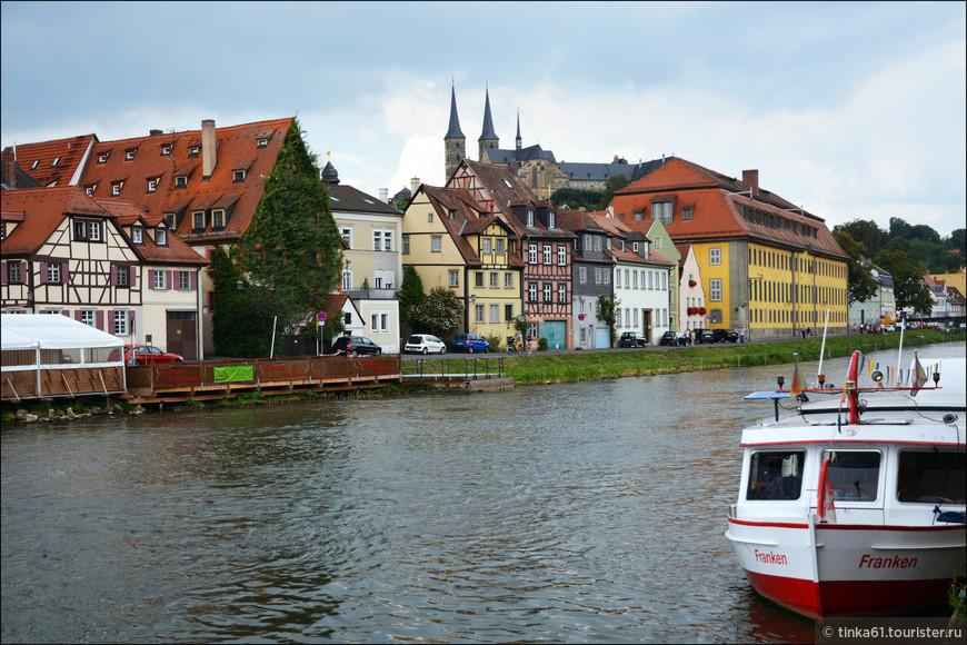 Панорама центра Бамберга со стороны   набережной Ам Кранер.