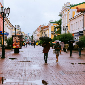 Нижний Новгород под ливнем