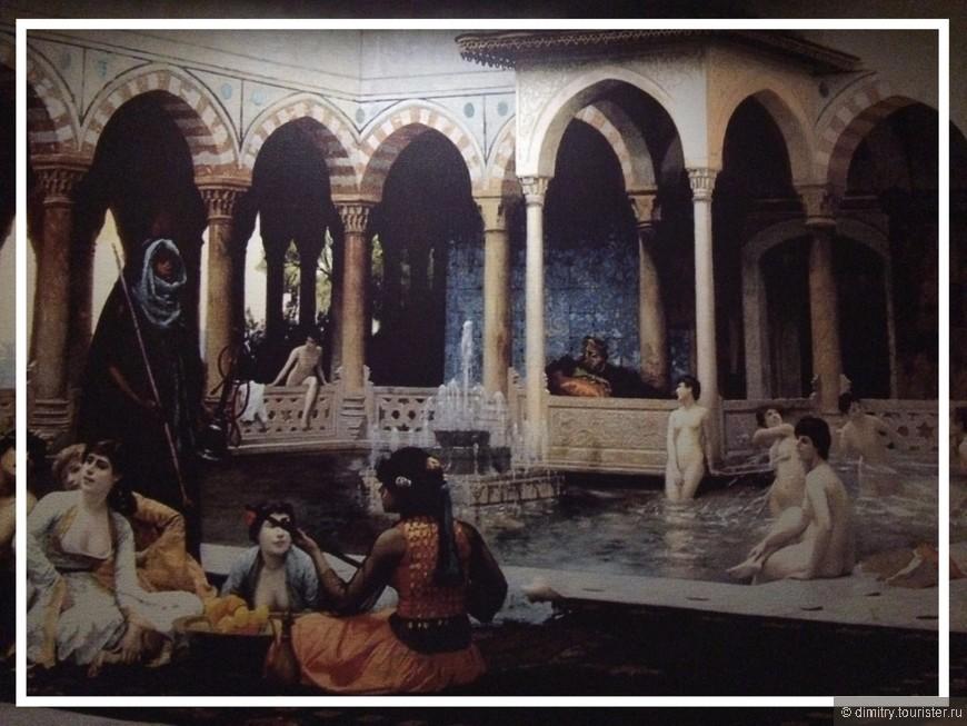 Сцены из жизни отдыхающих султанов и егоных наложниц. Роспись со стены турецкой бани.
