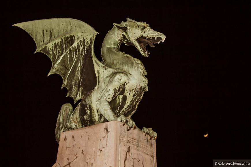 Дракон. Символ Любляны в кромешной тьме...