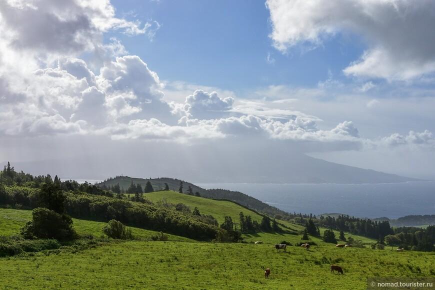 Жизнь налаживается! На горизоне виден соседний остров Пику, а плотные облака над ним скрывают от наших любоптыных взглядов одноименный вулкан.