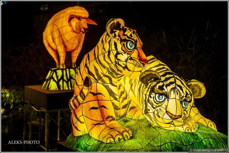 Тигрята. Даже проволочный каркас - это элемент рисунка. Вот это мастерство!