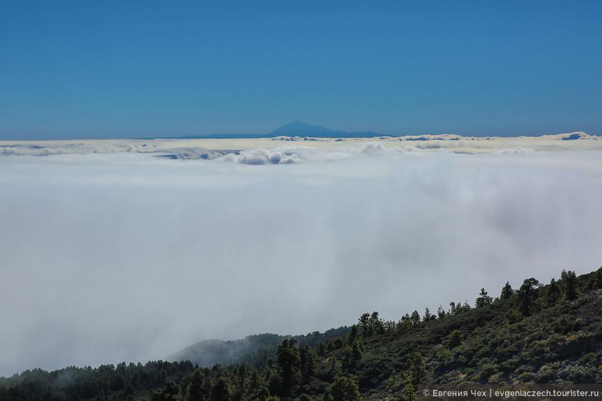 Внезапно мы вынырнули из томившего облачного плена, и открылась шикарная панорама оставшихся внизу туч и, вдали, даже пик соседнего острова Тенерифе.