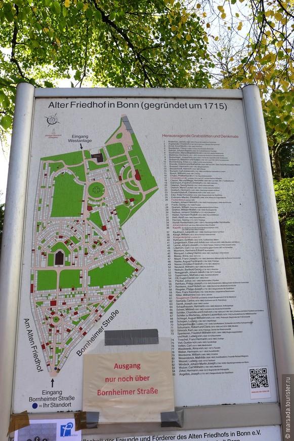 Схема парка со списком всех захороненных