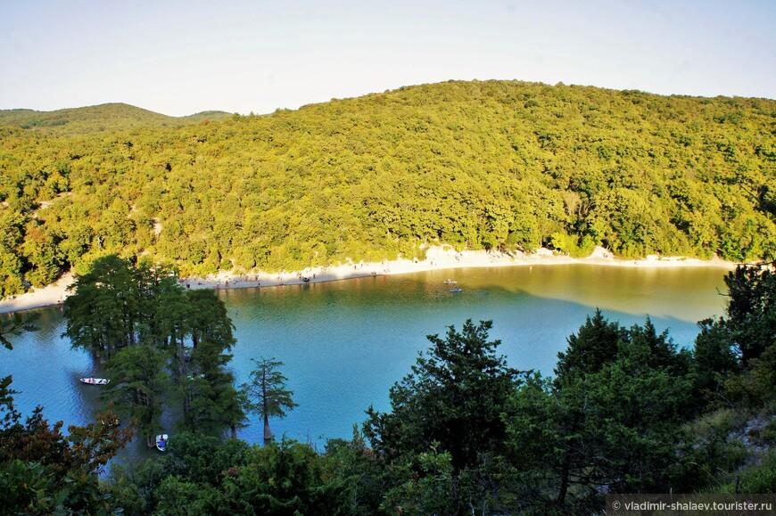 В древостое вокруг озера, где произрастает болотный кипарис, преобладает скальный дуб, граб и различные виды можжевельника.