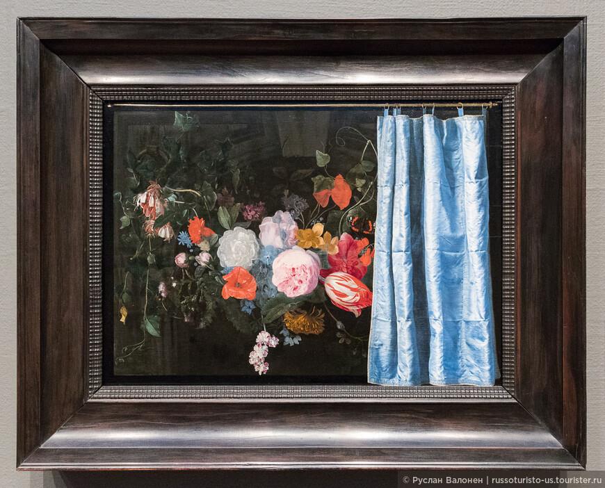"""Trompe-l'œil - техника, набор художественных приёмов, создающих оптические эффекты, """"обман зрения"""". Над этой картиной работали два художника, Adriaen van der Spelt и Frans van Mieris, 1658 г."""