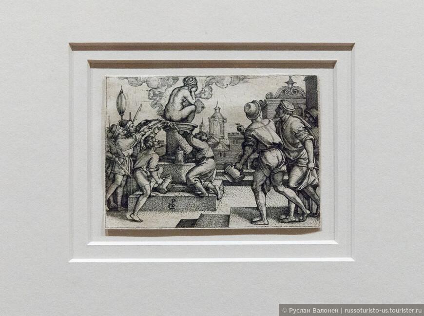 """""""Месть Вергилия"""". Georg Pencz, 1541/42 гг.  Средневековые легенды наделяли римского поэта магической силой."""