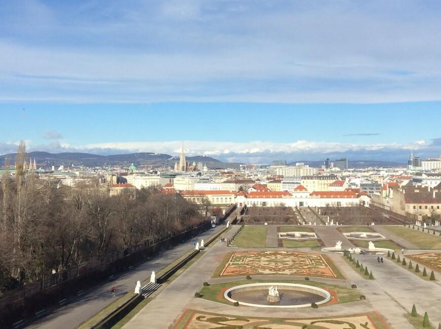 Вид с верхнего этажа дворца Бельведер. Фото: Юлия Абрамова, январь 2018