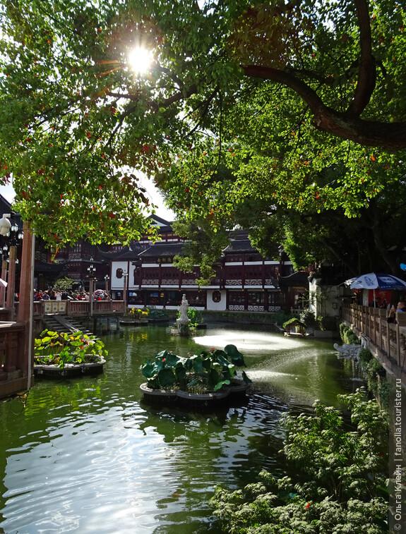 Рестораны и торговые павильоны вокруг прудика с утками