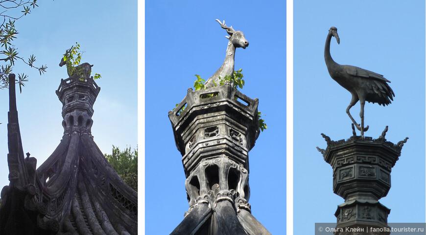 На самом верху крыш.  Может быть и аист в гнезде, а может и олень :)  Журавль, как и аист - символ долголетия, плодовитости, удачи и счастья . Да и олень тоже символ богатства и долголетия.