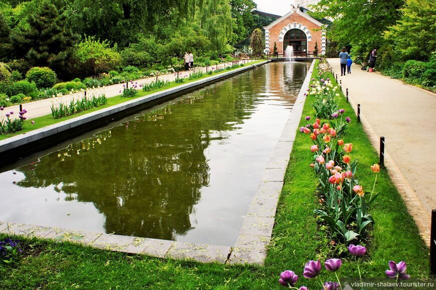 «Зеркальный» канал, по периметру которого цветник вытянутой формы, составленный из различных видов многолетних цветочных растений с обеспечением непрерывности цветения. В июне там были тюльпаны.
