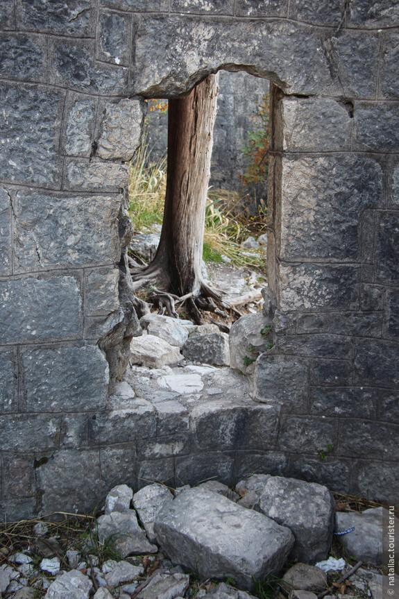 В поисках новых развалин можно подниматься по ступенькам, лезть в такие проемы.