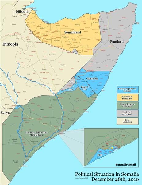 К началу 2011 года, исламистами контролировалась бОльшая часть территории Сомали, за исключением Сомалиленда и Пунтланда