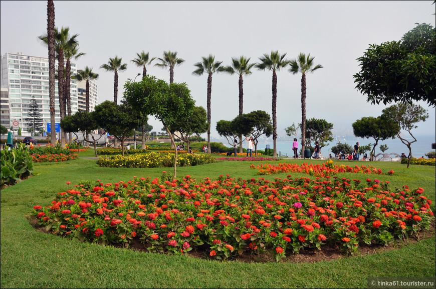 Территория набережной оформлена очень красиво. Всюду цветники, пальмы, скверы.