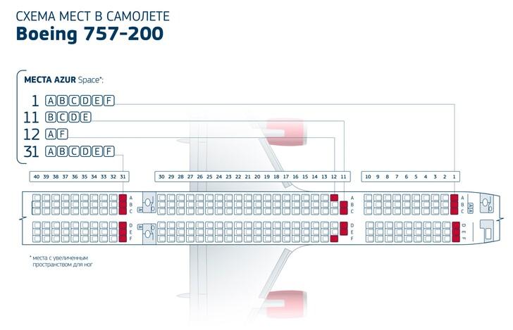 Схема салона boeing 757-200 вим-авия. Лучшие места в самолете.