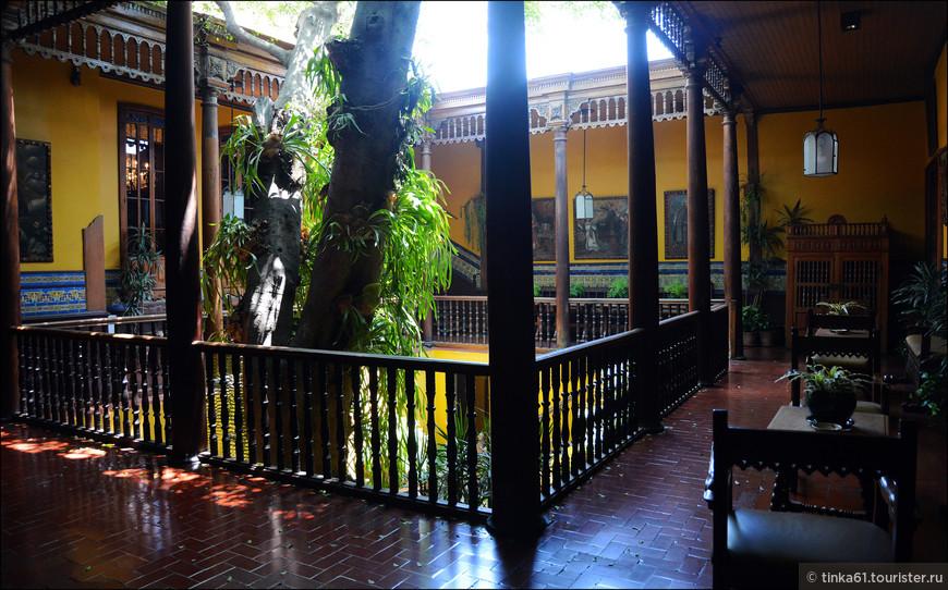 Внутренний дворик Патио, в центре которого растёт огромный фикус.