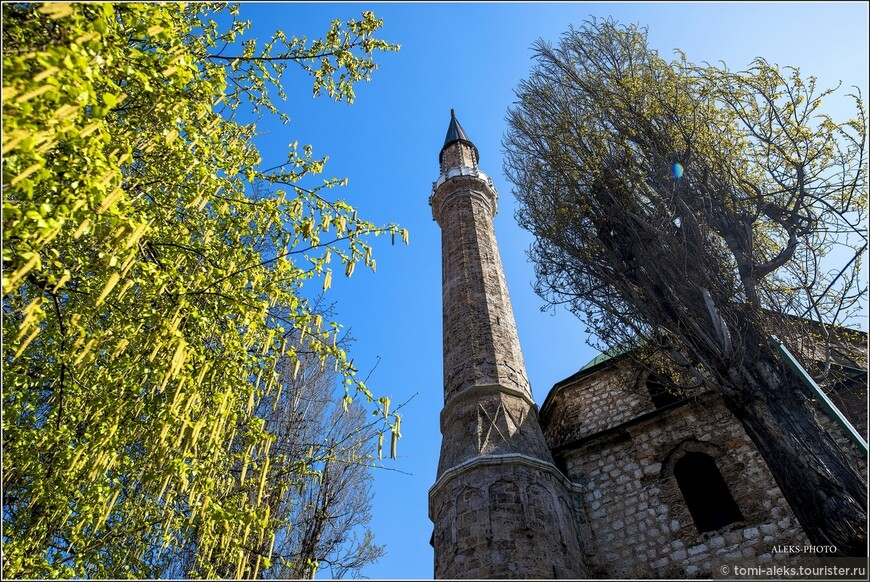 Вот как раз та мечеть, о которой было сказано чуть выше. Она отличается очень высоким минаретом. Что интересно в Сараево - здесь есть мечети, католические соборы и синагоги. Меня удивило, что девушки города вовсе не похожи на мусульманок, хотя ходят с покрытой головой. Все они как будто с европейской внешностью, хотя их религия - ислам. Вот такие метаморфозы, связанные с историей города...