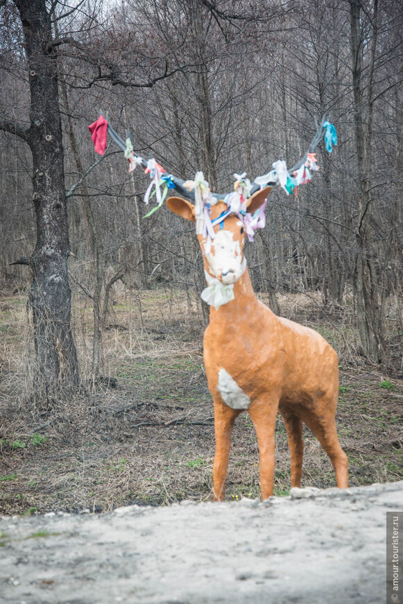 На подъезде к Булгару встретился олень с ленточками на рогах. Не настоящий, конечно. Что символизируют ленточки на его рогах и по какому поводу их повязывают, осталось нам неизвестным.