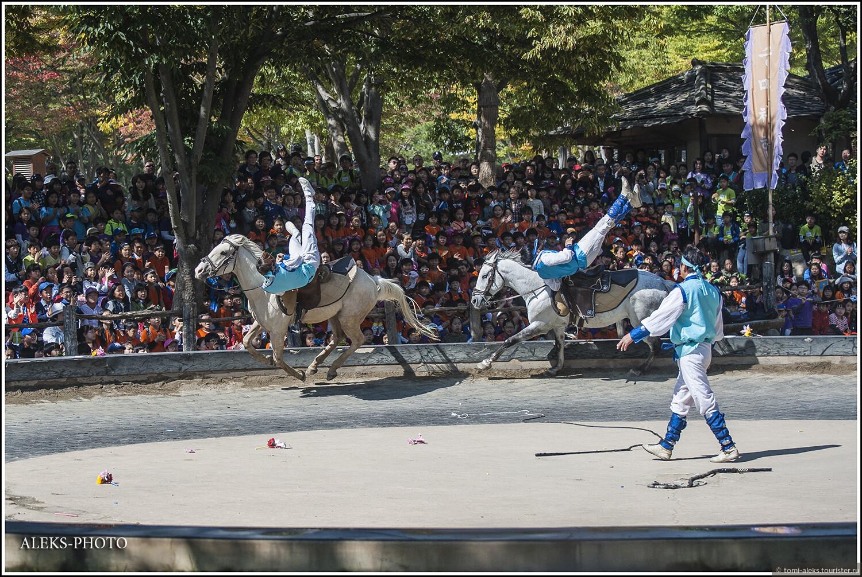 В этот день было очень солнечно, что немного мешало съемке. Ну да ладно, нам туристам - не привыкать. А куда мы это попали? Прямо какой-то цирк на природе. Наездники выполняют кульбиты прямо на лошадях..., Загадки корейской этно-деревни (часть первая)