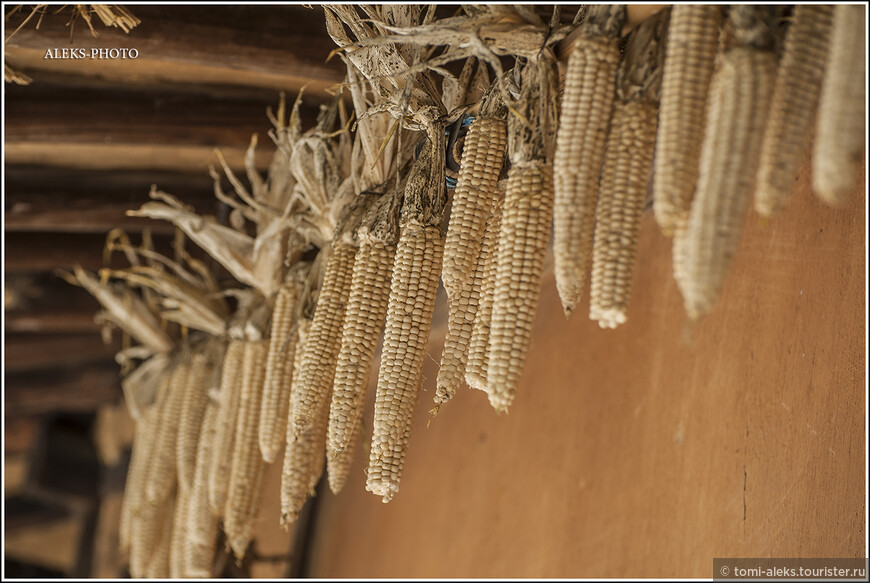 очень характерный компонент старинных домиков - ряды кукурузу. такое мы уже видели в Деревне национальностей в Пекине...