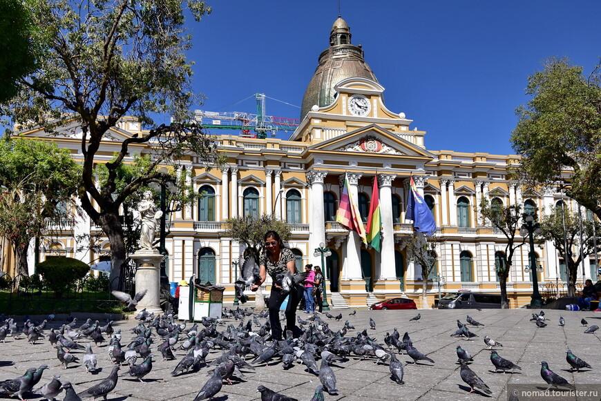 Национальный Конгресс Боливии и голуби