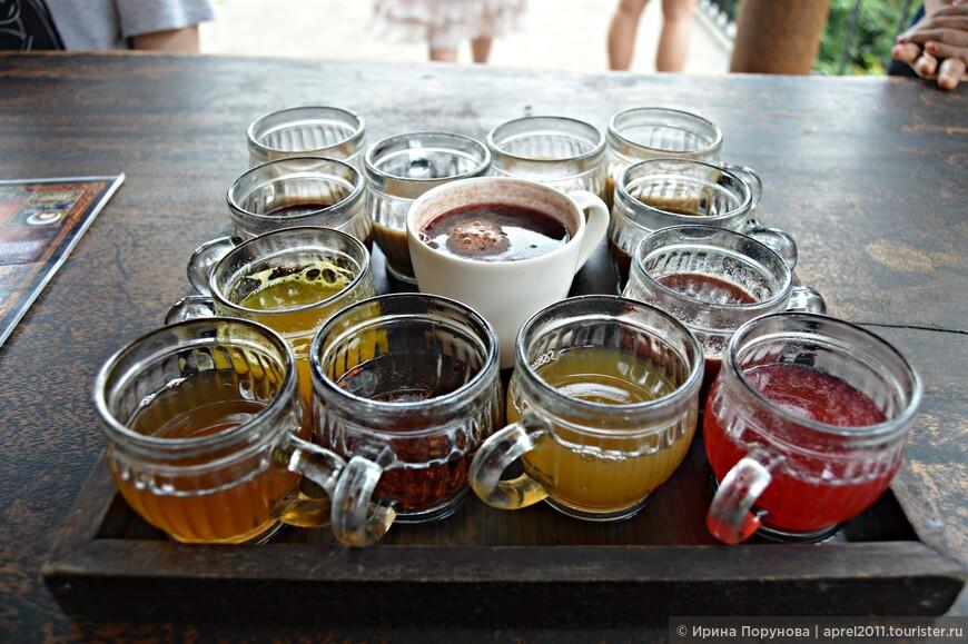 """Дегустация кофе и чая разного сорта.  Какими только эпитетами не награждают кофе Лювак: """"самый дорогой"""", """"самый престижный в мире"""", """"элитный"""",  """"класса премиум"""", """"напиток богов"""", вкус у него """"необыкновенно мягкий"""", """"карамельный"""", """"с нежным ароматом ванили и шоколада""""… Я продегустировала кофе за 50000 рупий, не понравился, смогла его допить только добавив сахар. Но мужу в качестве подарка кофе Лювак я купила за пол миллиона... индонезийских рупий!"""