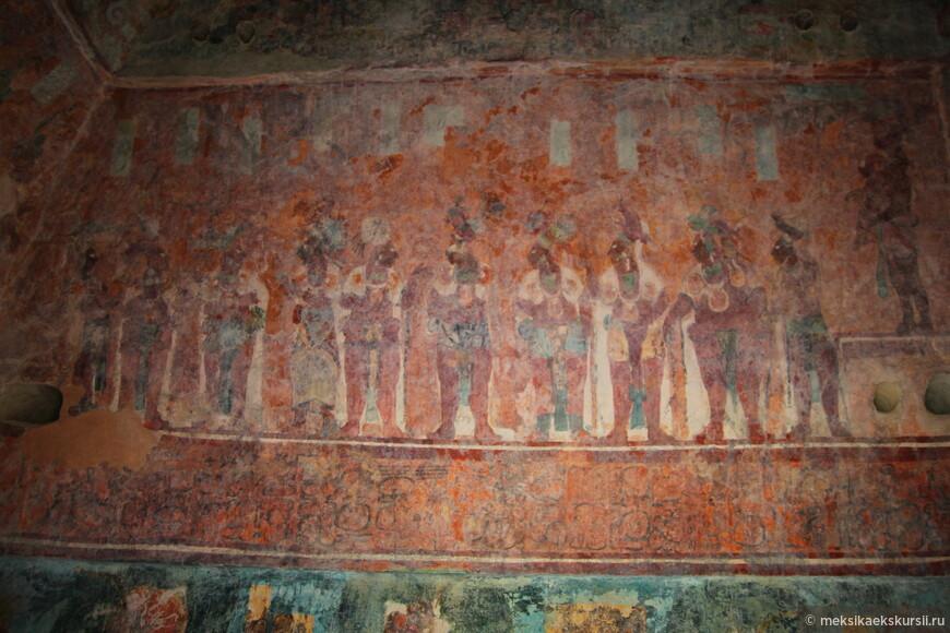 Археолоническая зона Бонампак. Оригинальные фрески, относятся к периоду 600-800 годов н.э.