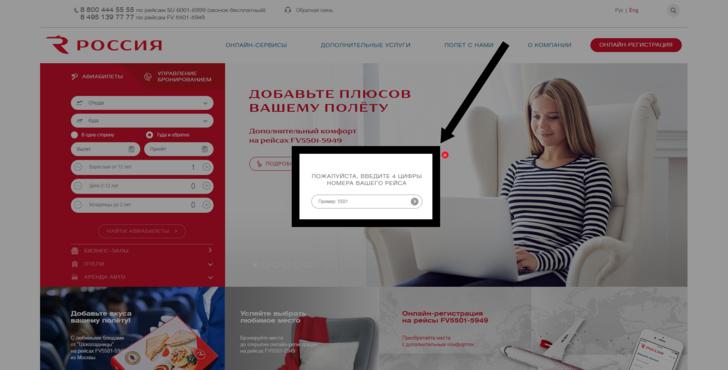 Авиакомпания «Россия»: онлайн-регистрация на рейс по номеру билета