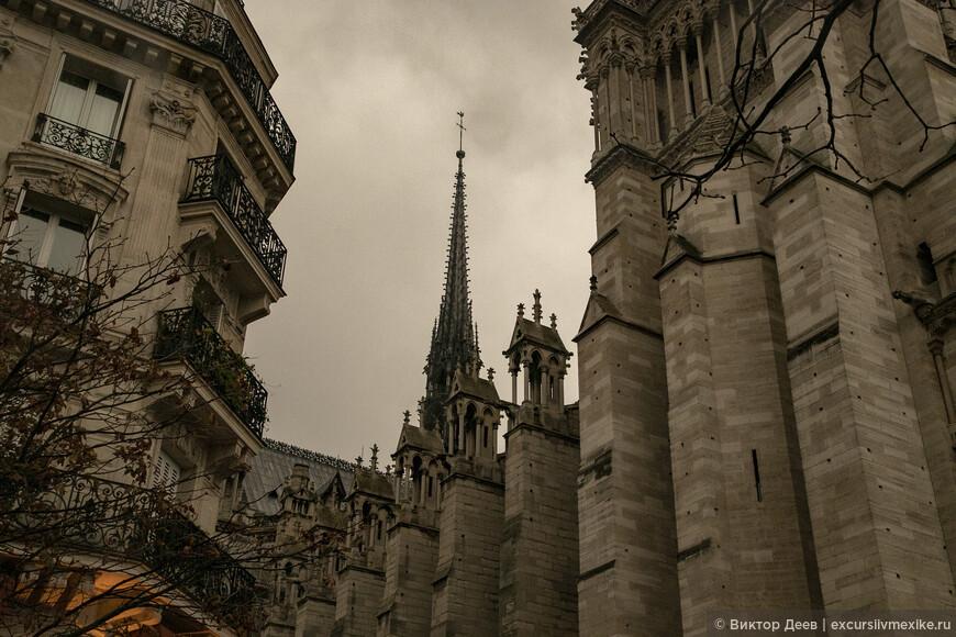 Собор Парижской богоматери вид сбоку
